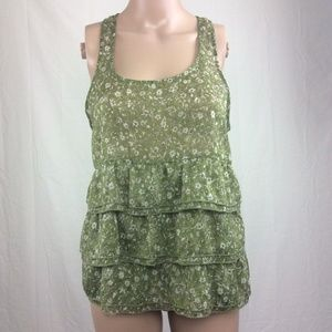 UO Pins & Needles Tank Top Ruffle Floral Green